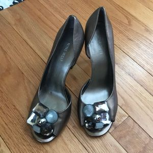 Nine West jeweled peep toe pumps